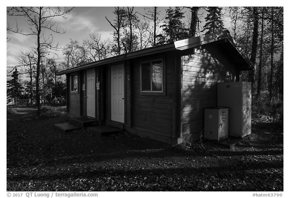 Food and gear cache building, Brooks Camp campground. Katmai National Park (black and white)