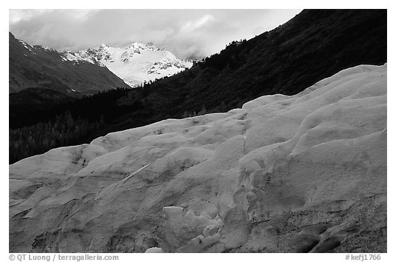 Alaskan Glacier seen from the side, and peaks. Kenai Fjords National Park (black and white)
