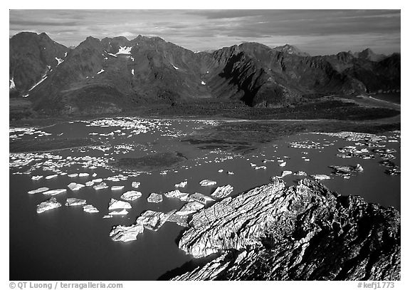 Aerial view of Bear Glacier and lagoon. Kenai Fjords National Park (black and white)