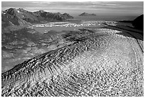 Aerial view of Bear Glacier. Kenai Fjords National Park ( black and white)