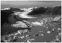 Aerial view of the front of Bear Glacier. Kenai Fjords National Park, Alaska, USA. (black and white)