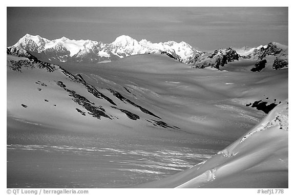 Aerial view of Harding icefield. Kenai Fjords National Park (black and white)