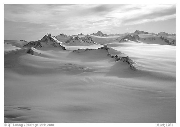 Aerial view of Harding icefield and Nunataks. Kenai Fjords National Park (black and white)