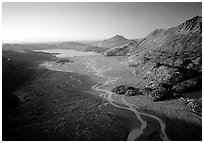 Aerial view of river. Kenai Fjords National Park, Alaska, USA. (black and white)