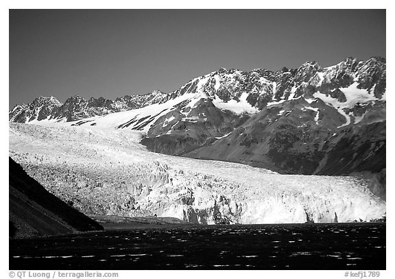 Tidewater glacier and mountains. Kenai Fjords National Park (black and white)