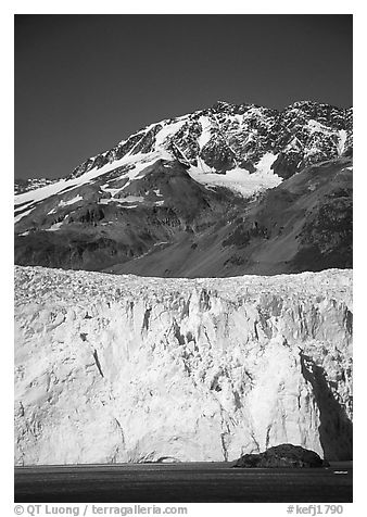 Aialik Glacier and mountains. Kenai Fjords National Park (black and white)