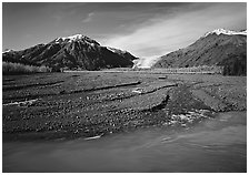 Resurrection River and Exit Glacier. Kenai Fjords  National Park ( black and white)