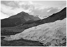 Exit Glacier and mountains at sunset. Kenai Fjords National Park, Alaska, USA. (black and white)