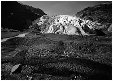 Dark glacial plain floor and Exit Glacier. Kenai Fjords National Park, Alaska, USA. (black and white)