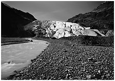Exit Glacier front and glacial stream, 2000. Kenai Fjords National Park ( black and white)