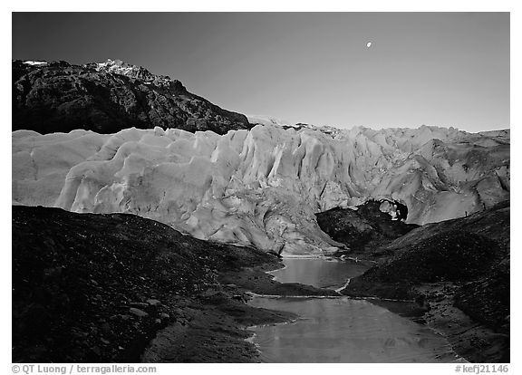 Front of Exit Glacier, sunrise and moon. Kenai Fjords National Park (black and white)