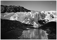 Frozen glacial pond and front of Exit Glacier, 2000, early morning. Kenai Fjords National Park ( black and white)