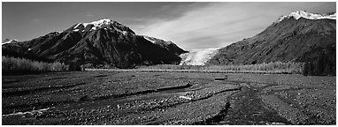 Streams on gravel bar with glacier in the distance. Kenai Fjords National Park (Panoramic black and white)