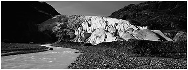Glacial stream and Exit Glacier, 2000. Kenai Fjords National Park (Panoramic black and white)