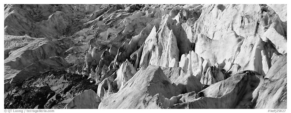 Chaotic ice forms on Exit Glacier. Kenai Fjords National Park (black and white)