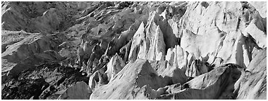 Chaotic ice forms on Exit Glacier. Kenai Fjords National Park (Panoramic black and white)