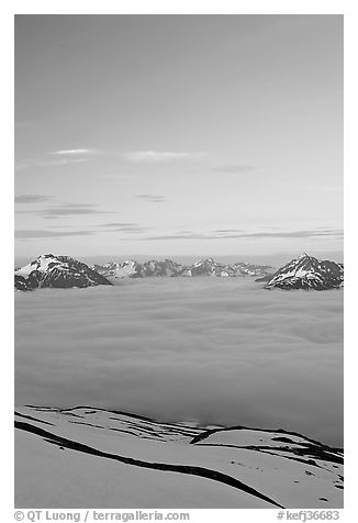 View from the Harding Icefield trail at sunset. Kenai Fjords National Park (black and white)