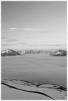 View from the Harding Icefield trail at sunset. Kenai Fjords National Park, Alaska, USA. (black and white)