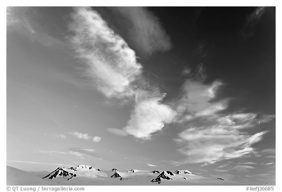 Nunataks and clouds at sunset. Kenai Fjords National Park (black and white)