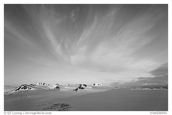 Harding Ice field and clouds, sunrise. Kenai Fjords National Park (black and white)