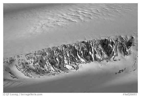 Crevasses uncovered by melting snow. Kenai Fjords National Park (black and white)