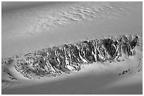 Crevasses uncovered by melting snow. Kenai Fjords National Park, Alaska, USA. (black and white)