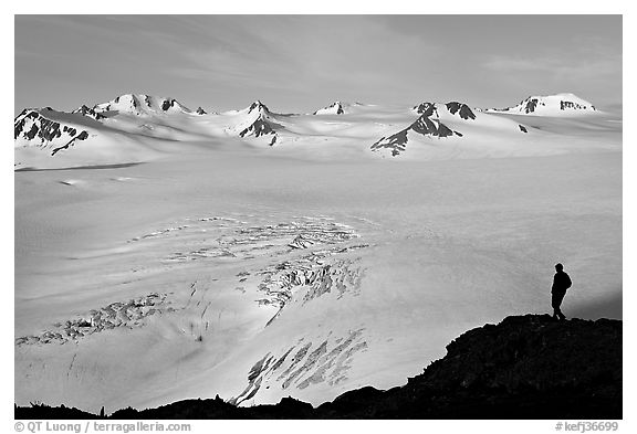 Harding icefield with man standing in the distance. Kenai Fjords National Park (black and white)
