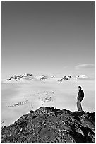 Hiker looking at the Harding icefield. Kenai Fjords National Park ( black and white)