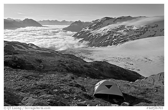 Camping in tent above glacier and sea of clouds. Kenai Fjords National Park (black and white)