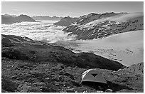 Camping in tent above glacier and sea of clouds. Kenai Fjords National Park ( black and white)