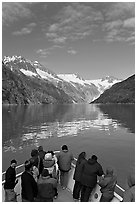 Mountains reflected in fjord, seen by tour boat passengers, Northwestern Fjord. Kenai Fjords National Park ( black and white)