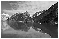North side of fjord and reflections, Northwestern Fjord. Kenai Fjords National Park, Alaska, USA. (black and white)