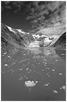 Icebergs in Northwestern Lagoon, Northwestern Fjord. Kenai Fjords National Park, Alaska, USA. (black and white)