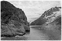 Striation Island and glacier in Northwestern Fjord. Kenai Fjords National Park, Alaska, USA. (black and white)