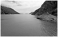 Harris Bay, Northwestern Fjord. Kenai Fjords National Park, Alaska, USA. (black and white)