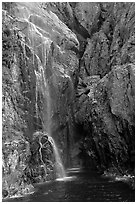 Waterfall streaming into Cataract Cove, Northwestern Fjord. Kenai Fjords National Park ( black and white)