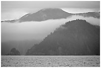 Mountains and fog above Aialik Bay. Kenai Fjords National Park, Alaska, USA. (black and white)