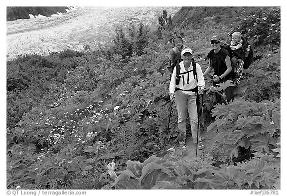 Women carrying infants on trail. Kenai Fjords National Park (black and white)