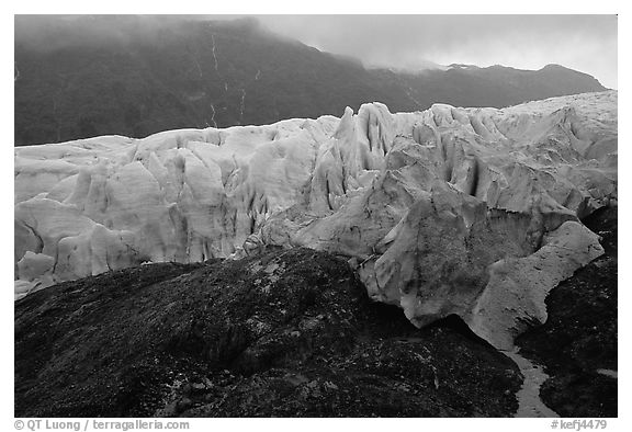 Moraine and Exit Glacier. Kenai Fjords National Park (black and white)