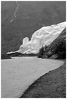Exit Glacier, glacial outwash plain, and glacial stream, 2002. Kenai Fjords National Park ( black and white)
