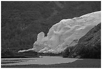 Exit Glacier from glacial plain, 2002. Kenai Fjords National Park ( black and white)