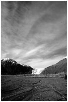 Sky, Resurrection River and Exit Glacier, morning. Kenai Fjords National Park, Alaska, USA. (black and white)