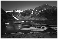 Aerial View of Pedersen Lagoon and Glacier. Kenai Fjords National Park ( black and white)