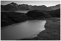 Aerial View of Pedersen Lagoon and Aialik Bay. Kenai Fjords National Park ( black and white)