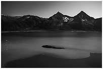 Aerial View of Aialik Bay with silky water from Aialik Glacier. Kenai Fjords National Park ( black and white)