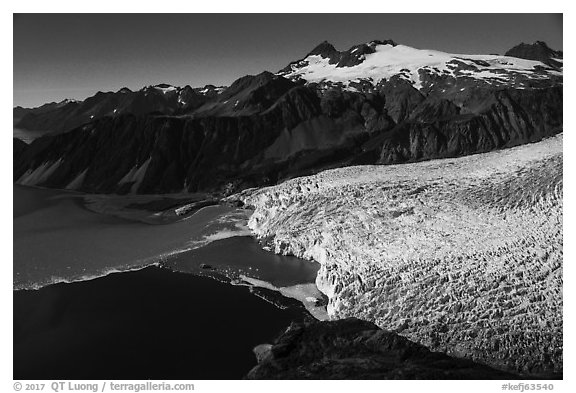 Aerial View of Aialik Glacier and mountains. Kenai Fjords National Park (black and white)