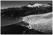 Aerial View of Aialik Glacier and mountains. Kenai Fjords National Park ( black and white)