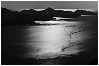Aerial View of backlit Aialik Bay. Kenai Fjords National Park ( black and white)