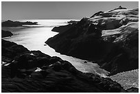 Aerial View of backlit Holgate Arm. Kenai Fjords National Park ( black and white)
