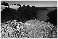 Aerial View of Holgate Glacier and Holgate Arm. Kenai Fjords National Park ( black and white)